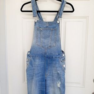 H&M Divided Light Wash Distressed Overalls